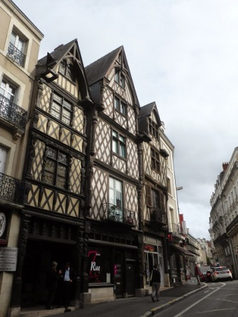 street with half-timbered houses in Angers France