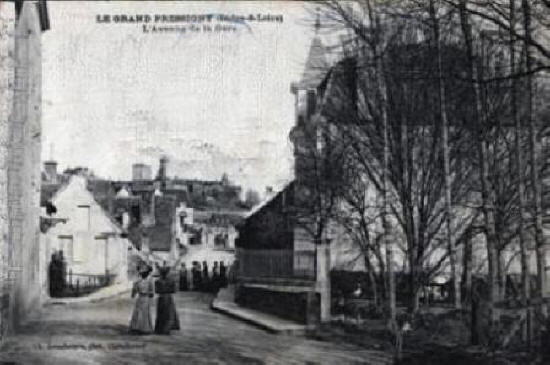 old postcard of Avenue Andre Theuriet in Le Grand-Pressignny